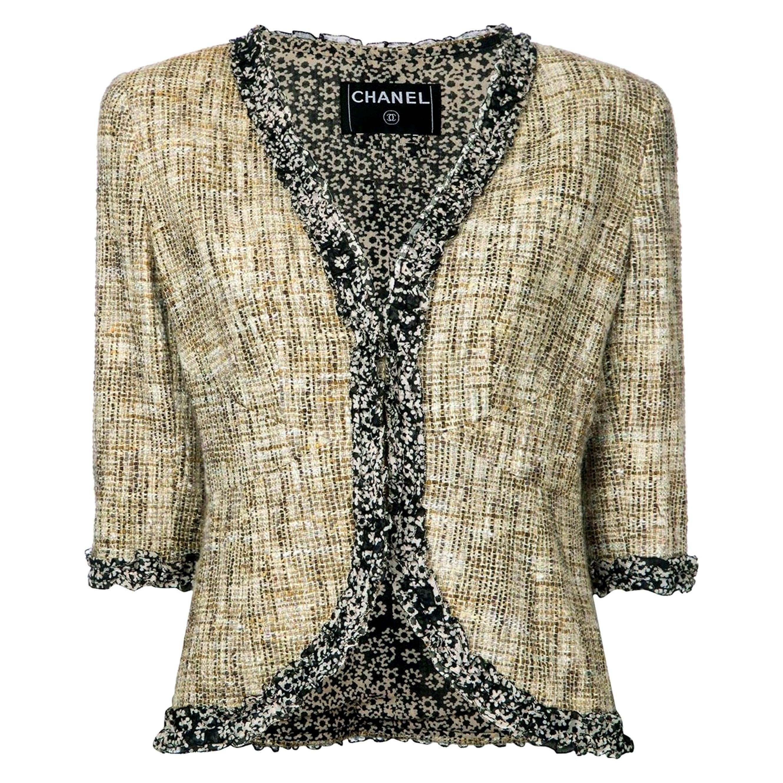 Chanel Multicolor Tweed Jacket Blazer with CC Logo Trimming
