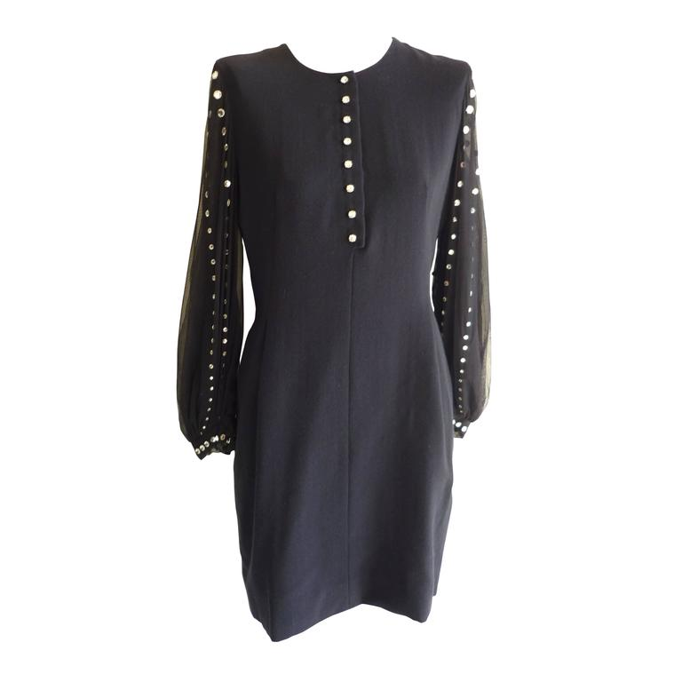 Pauline Trigere Wool Dress with See Through Sleeves, 1980s