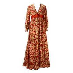 Late 60's Marc Bohan Christian Dior Red w/Gold Metallic Evening Dress & Shawl