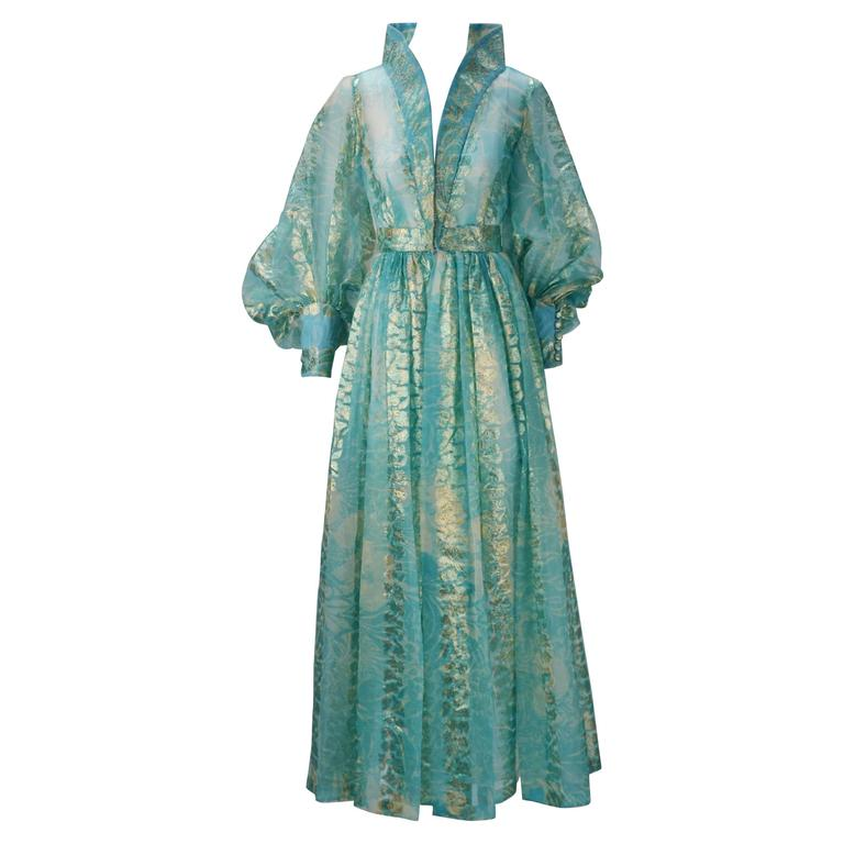 1970s Sheer Light Blue and Gold Metallic Hostess Gown 1
