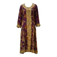 1970s Indian Multi Color Embroidered Kaftan Ensemble