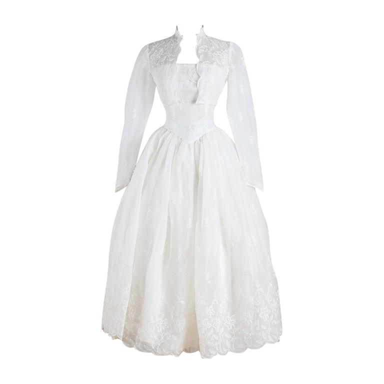 Vintage 1950s White Floral Embroidered Wedding Dress At