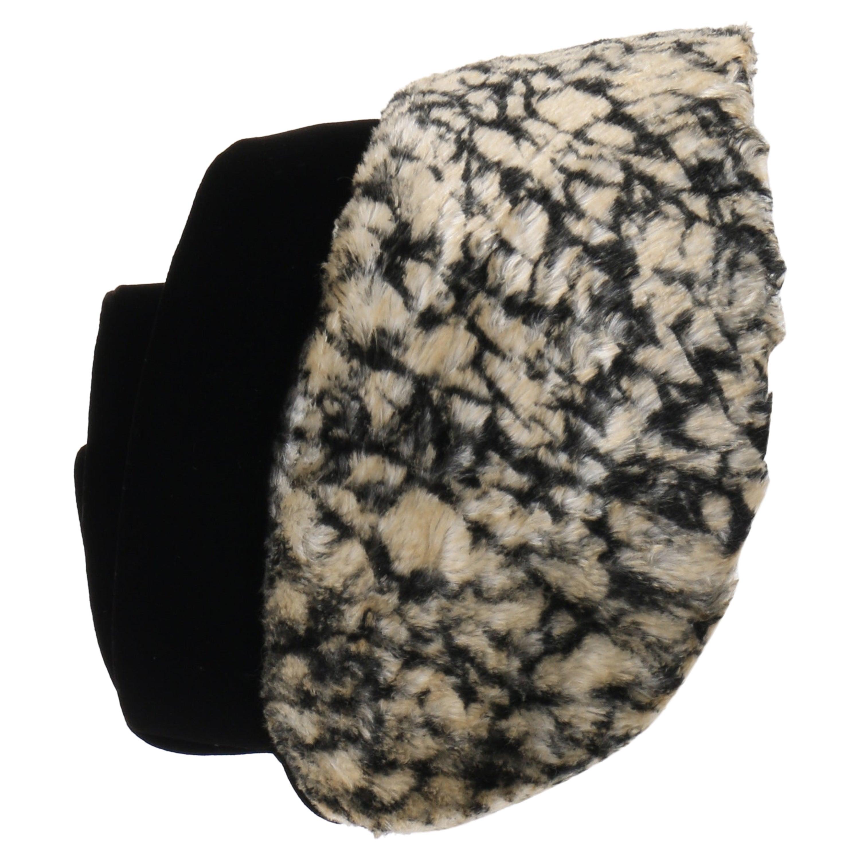 HUBERT de GIVENCHY c.1950's Silk Velvet Juliette Calot Cap Hat