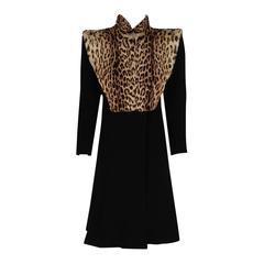 1940's Luxurious Black Wool-Crepe & Geoffroy-Cat Fur Bib Tailored Princess Coat