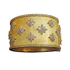 Striking Gilt Sterling Silver CZ Cuff Bangle Bracelet
