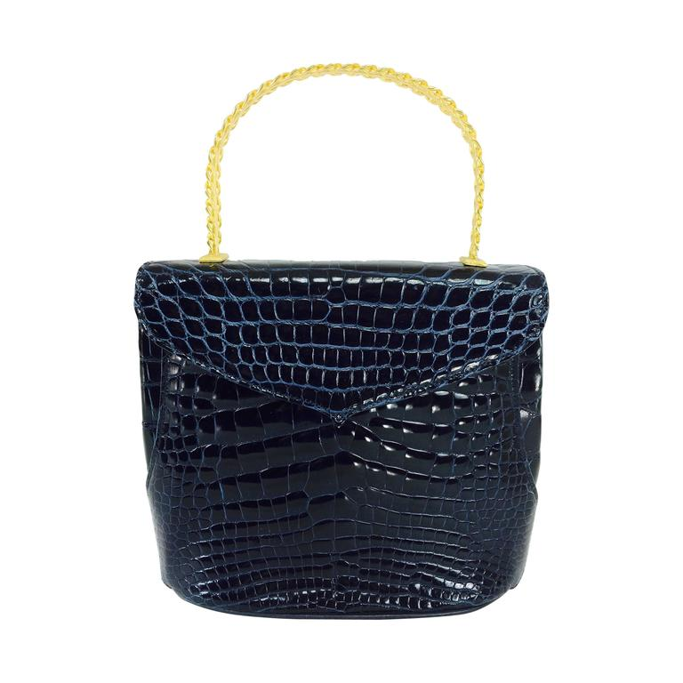 Lana Marks Lana of London navy blue glazed alligator handbag 1980s For Sale