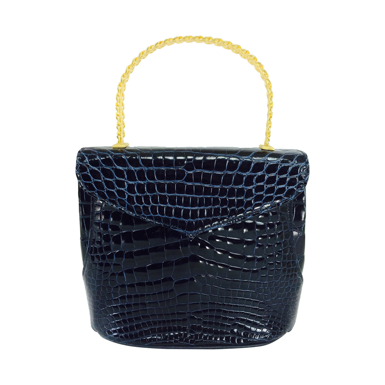 Lana Marks Lana of London navy blue glazed alligator handbag 1980s