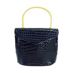 Lana Marks Lana of London navy blue glazed alligator handbag 1980s
