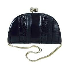 Judith Leiber black leather & snakeskin shoulder bag 1980s