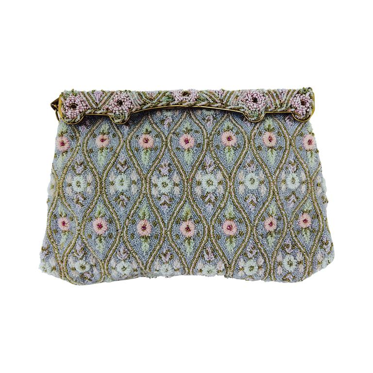 Pastel caviar beaded floral design evening bag made in France 1950s For Sale
