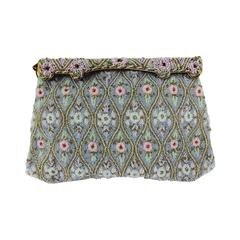 Pastel caviar beaded floral design evening bag made in France 1950s