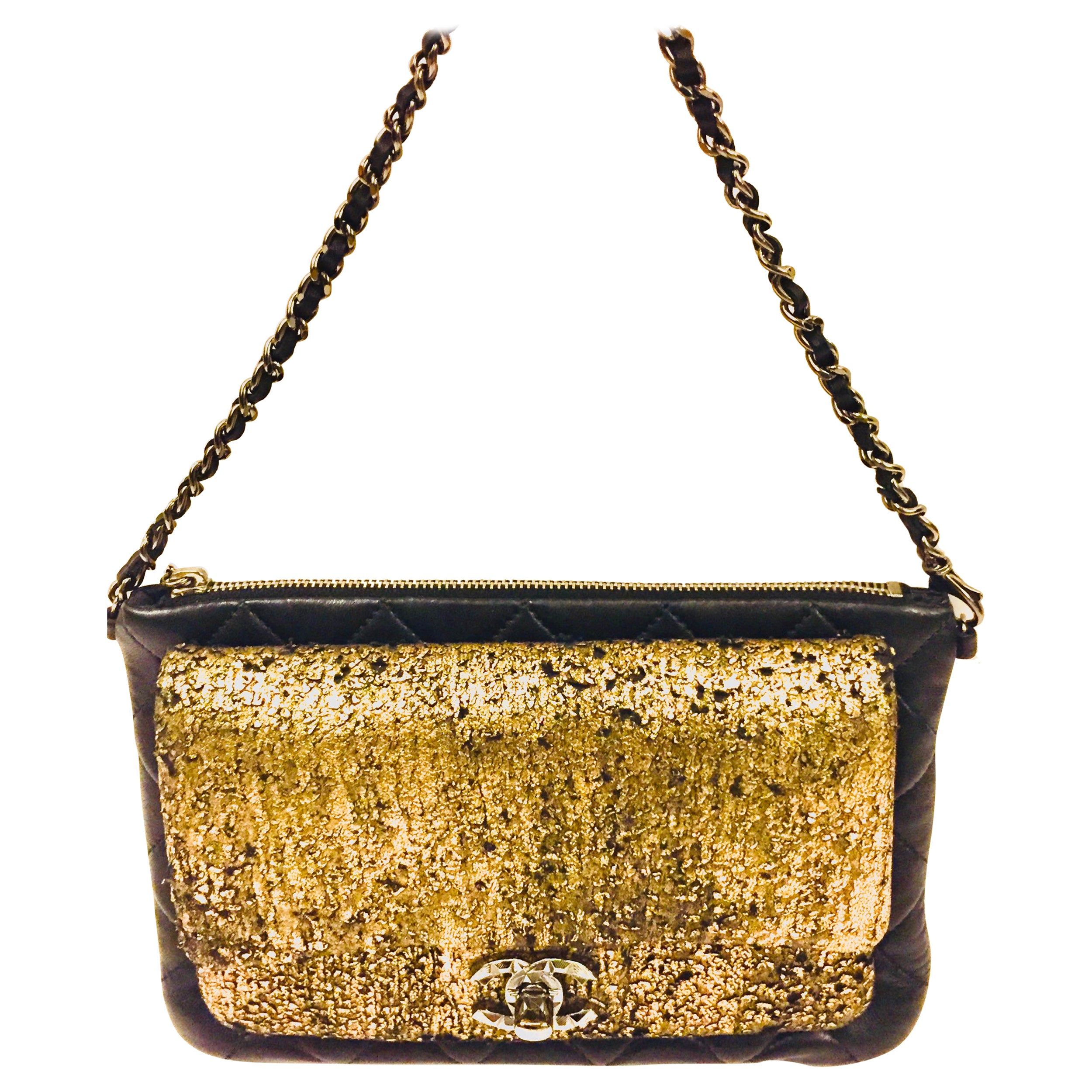 Chanel black and gold wallet/clutch with leather chain strap
