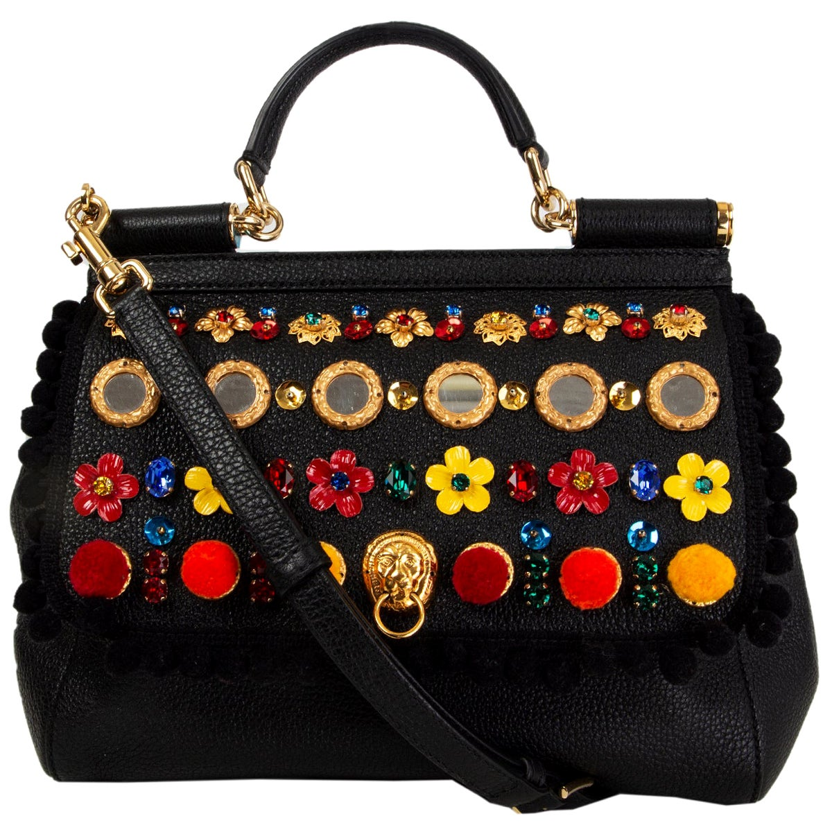 DOLCE & GABBANA black leather EMBELLISHED SICILY MEDIUM Shoulder Bag