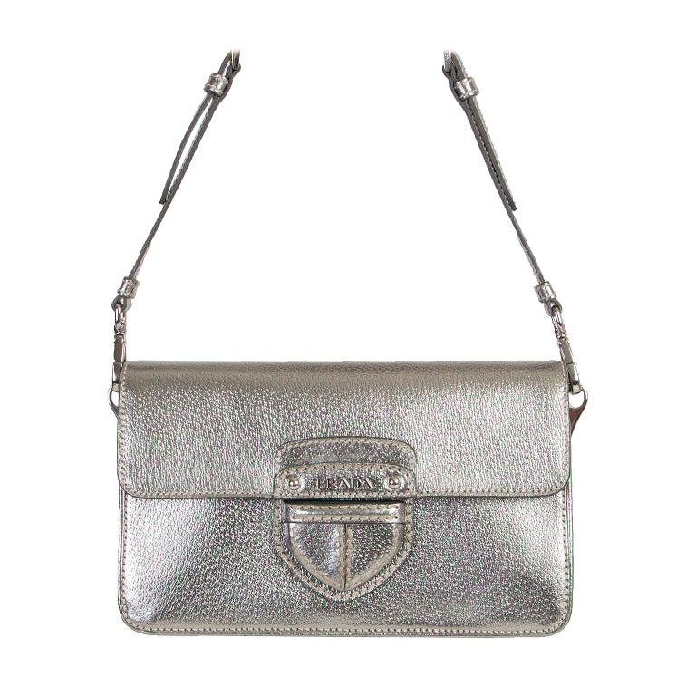 PRADA metallic silver Cinghale leather Crossbody Shoulder Bag