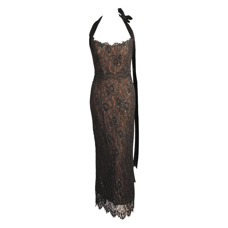 Bob Mackie Lace over Nude Silk Halter Dress