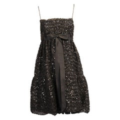 Bill Blass Beaded Black Lace Empire Waist Cocktail Dress