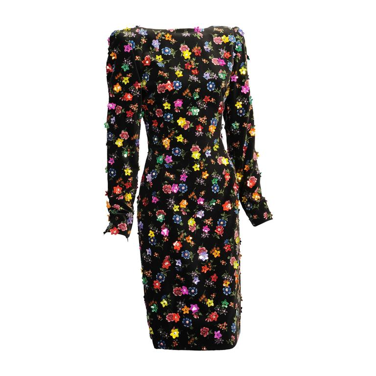 Givenchy Haute Couture Beaded & Printed Floral Velvet Dress, Low Back 1