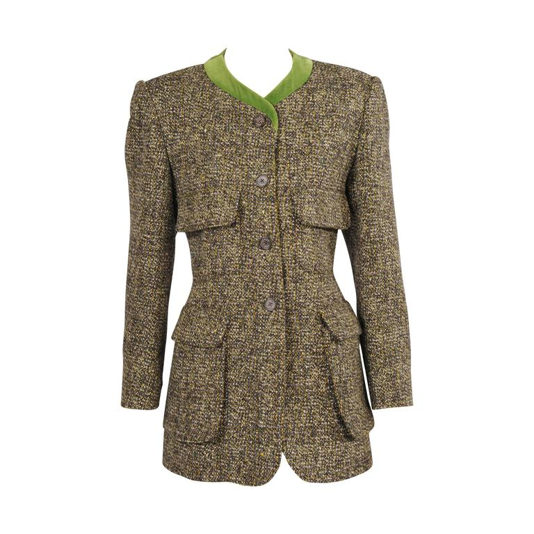Hermes Velvet Trimmed Green Wool Tweed Jacket For Sale