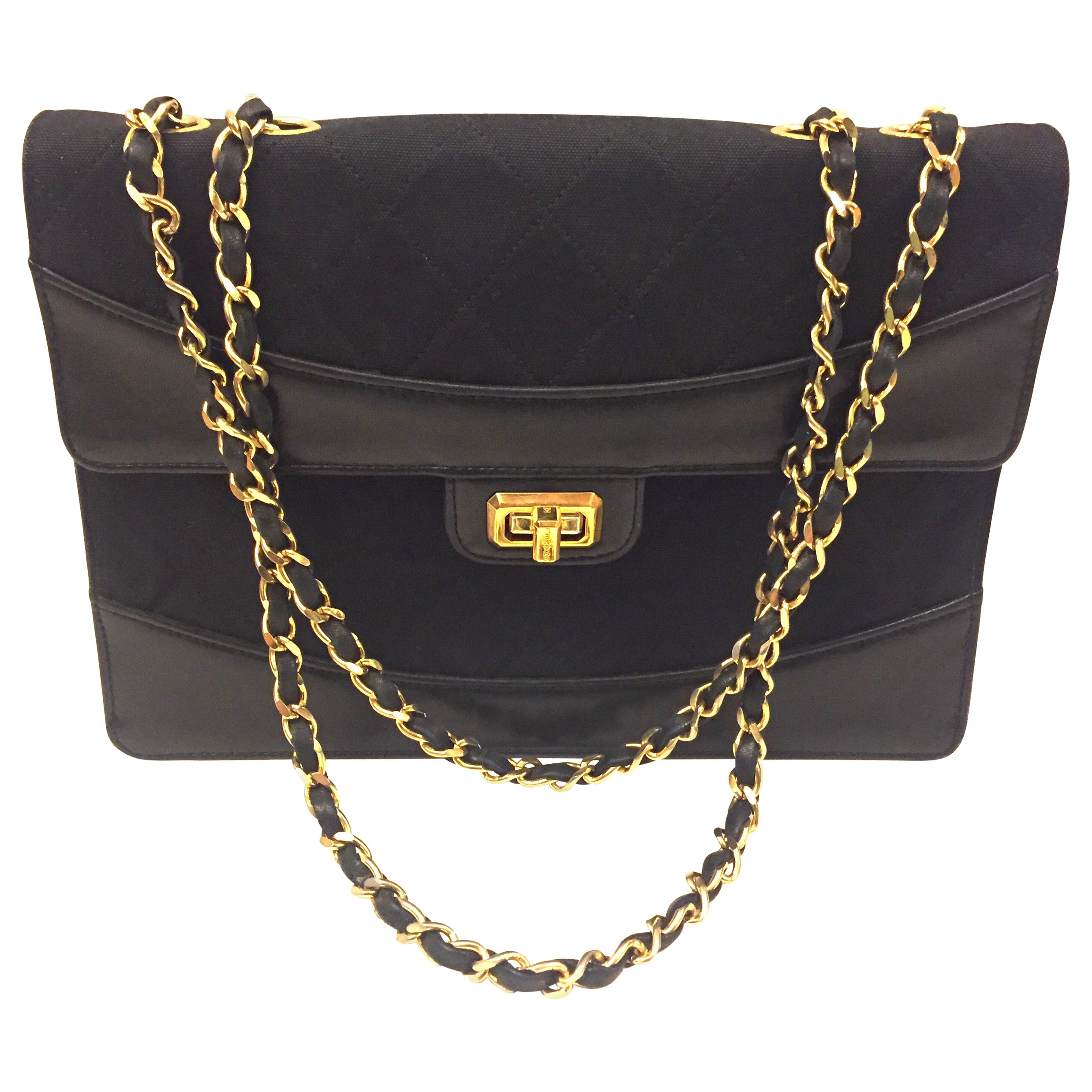 Chanel black canvas/leather shoulder bag