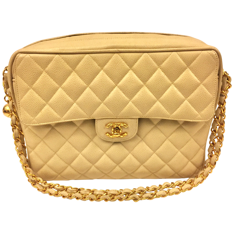 Chanel Beige Caviar Double Chain Handbag