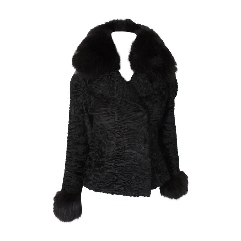 Black persian Lamb/Astrakhan fur jacket with fox details For Sale