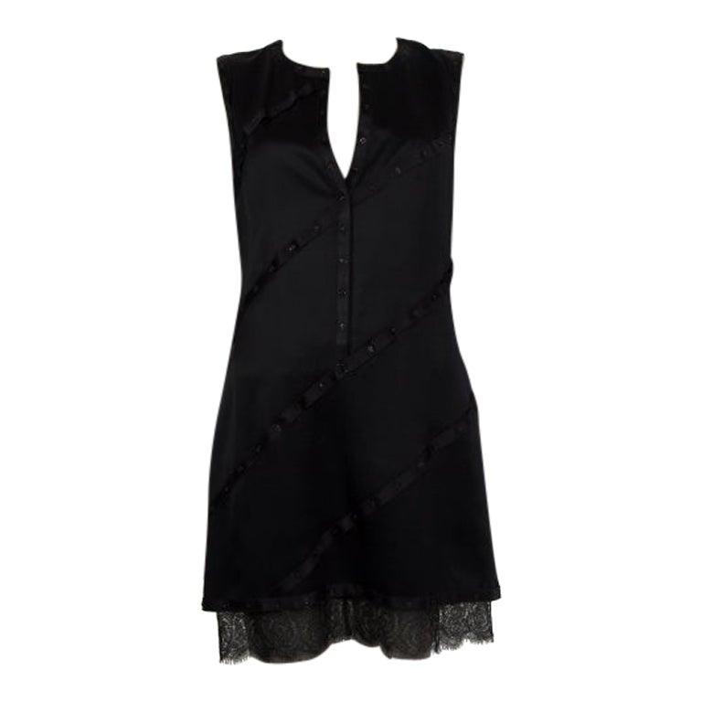 CHANEL black silk SATIN SNAP BUTTON TRIM Sleeveless Cocktail Dress 40