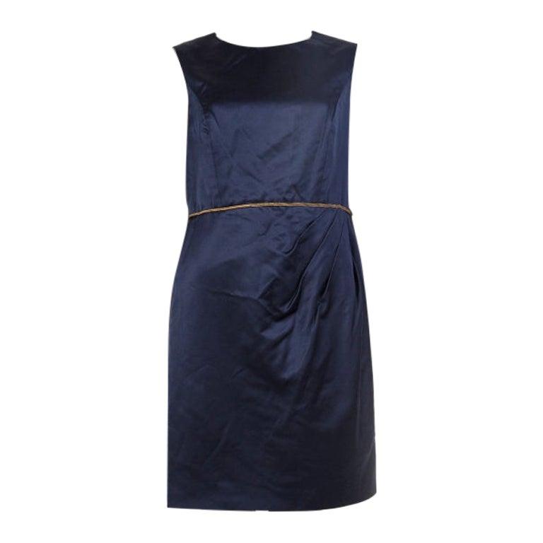 CHANEL midnight blue silk DARTED Sleeveless Cocktail Dress 44