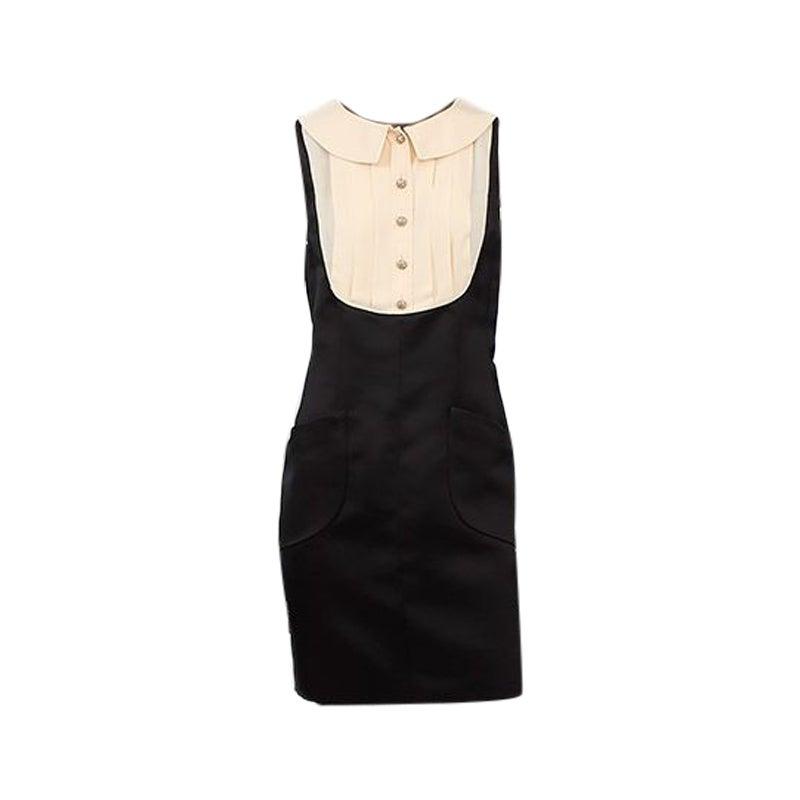 CHANEL black & off-white silk LAYERED SHIRT Cocktail Dress 42