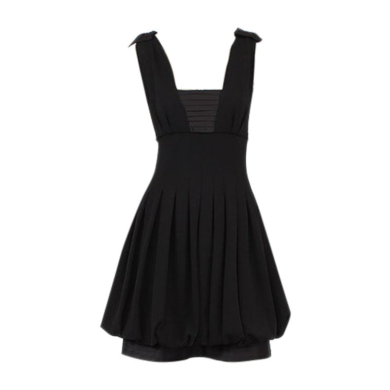CHANEL black wool PLEATED Sleeveless Cocktail Dress 36