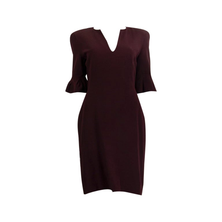 ALEXANDER MCQUEEN burgundy acetate Short Sleeve Sheath Dress 44