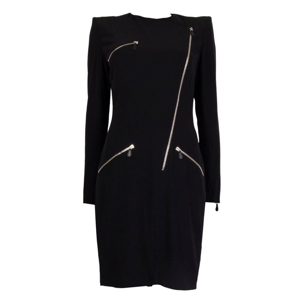 ALEXANDER MCQUEEN black MUTLI ZIP Long Sleeve Dress 42