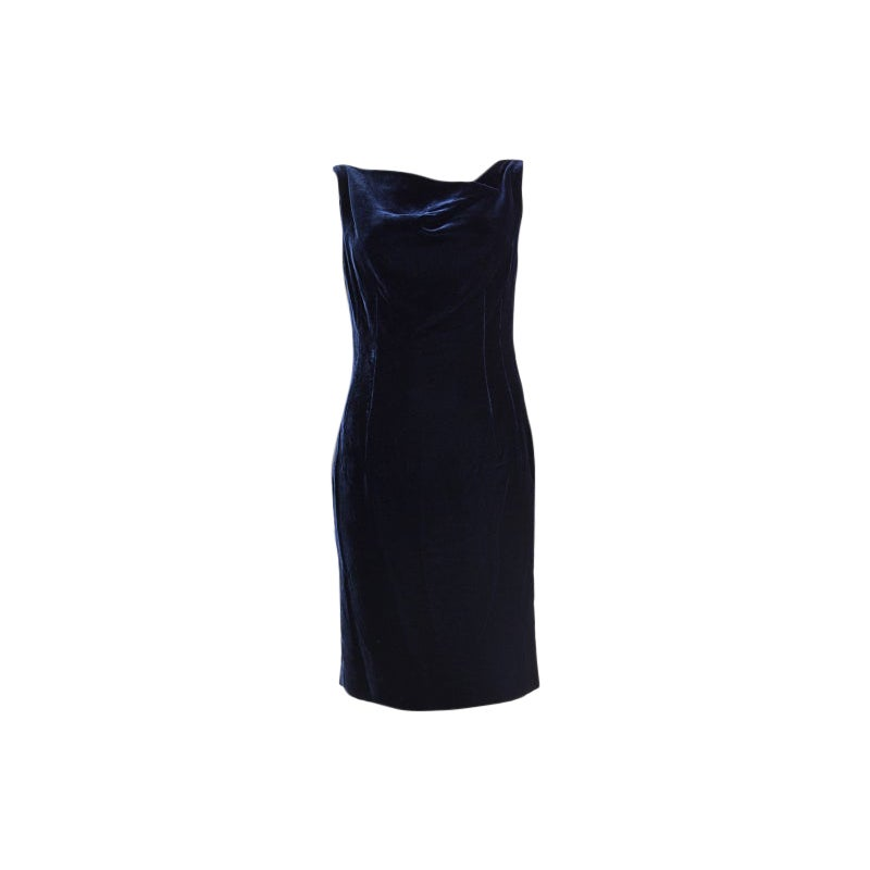 ALEXANDER MCQUEEN midnight blue VELVET Cocktail Dress 42