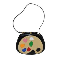 Moschino Vintage Rare 1990s Artist's Palette Leather Shoulder Bag