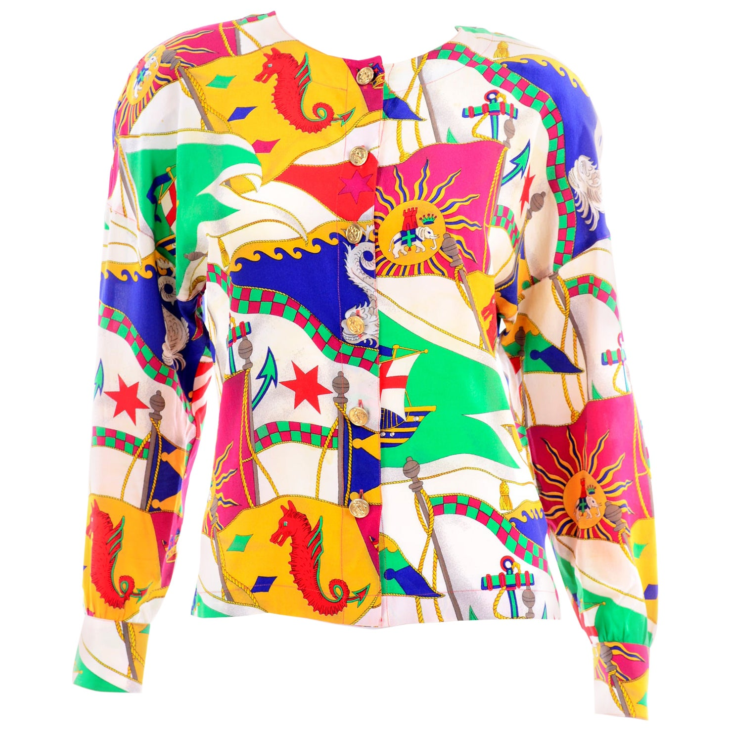 Vintage Escada Silk Novelty Print Red Blue and Green Blouse by Margaretha Ley