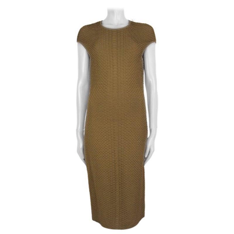 ALEXANDER MCQUEEN olive green rayon Cap Sleeve KNIT Dress L