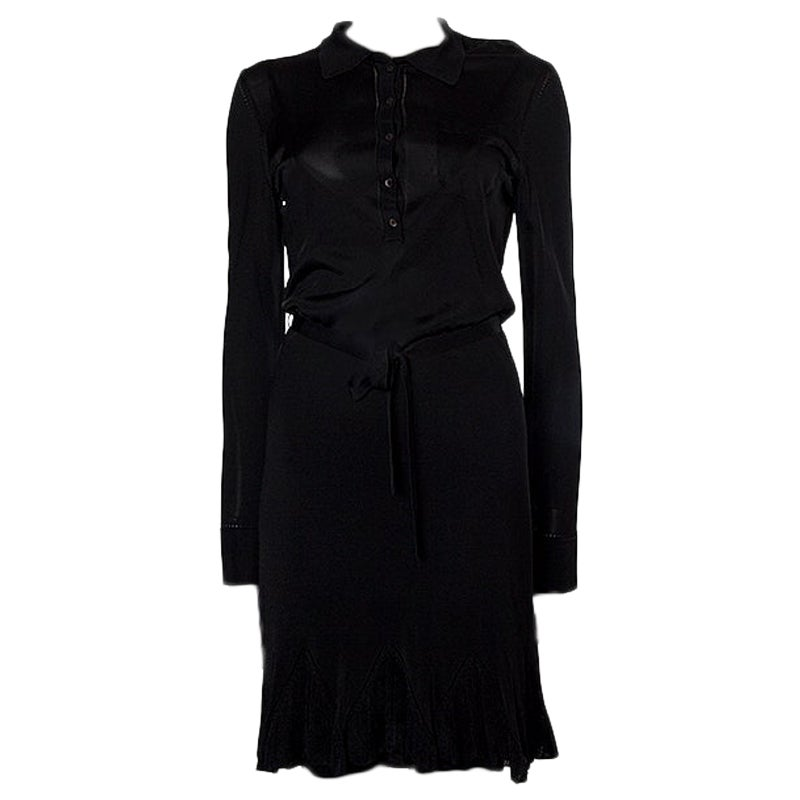 ALEXANDER MCQUEEN black rayon SEMI SHEER KNIT BELTED SHIRT Dress L