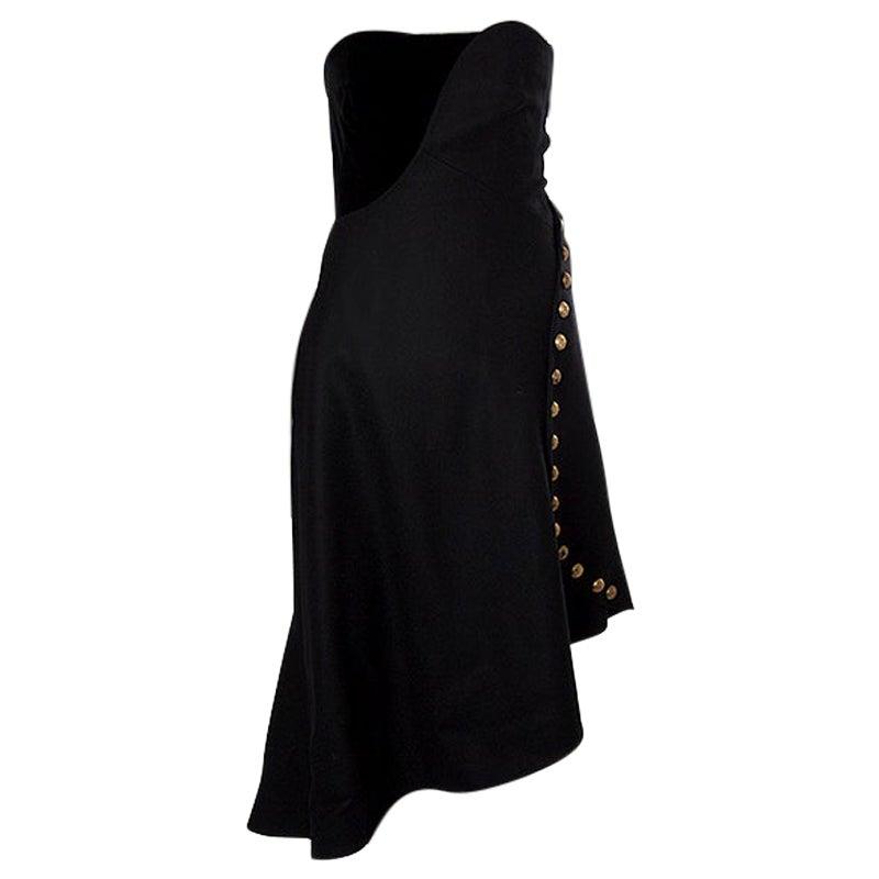 ALEXANDER MCQUEEN black wool STRAPLESS BUSTIER Cocktail Dress 42