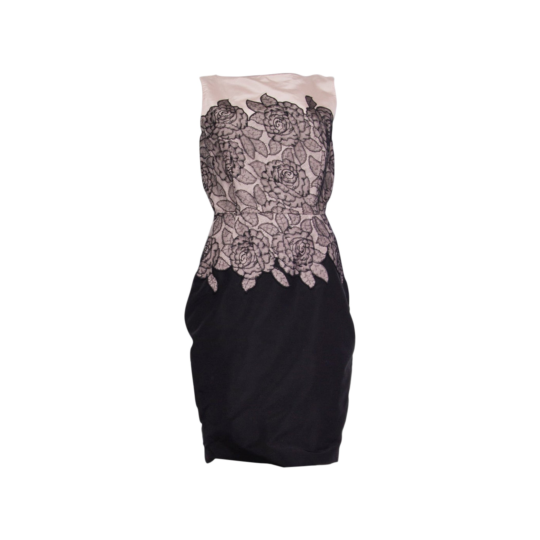 CHRISTIAN DIOR pink & black silk FLORAL LACE Cocktail Dress S