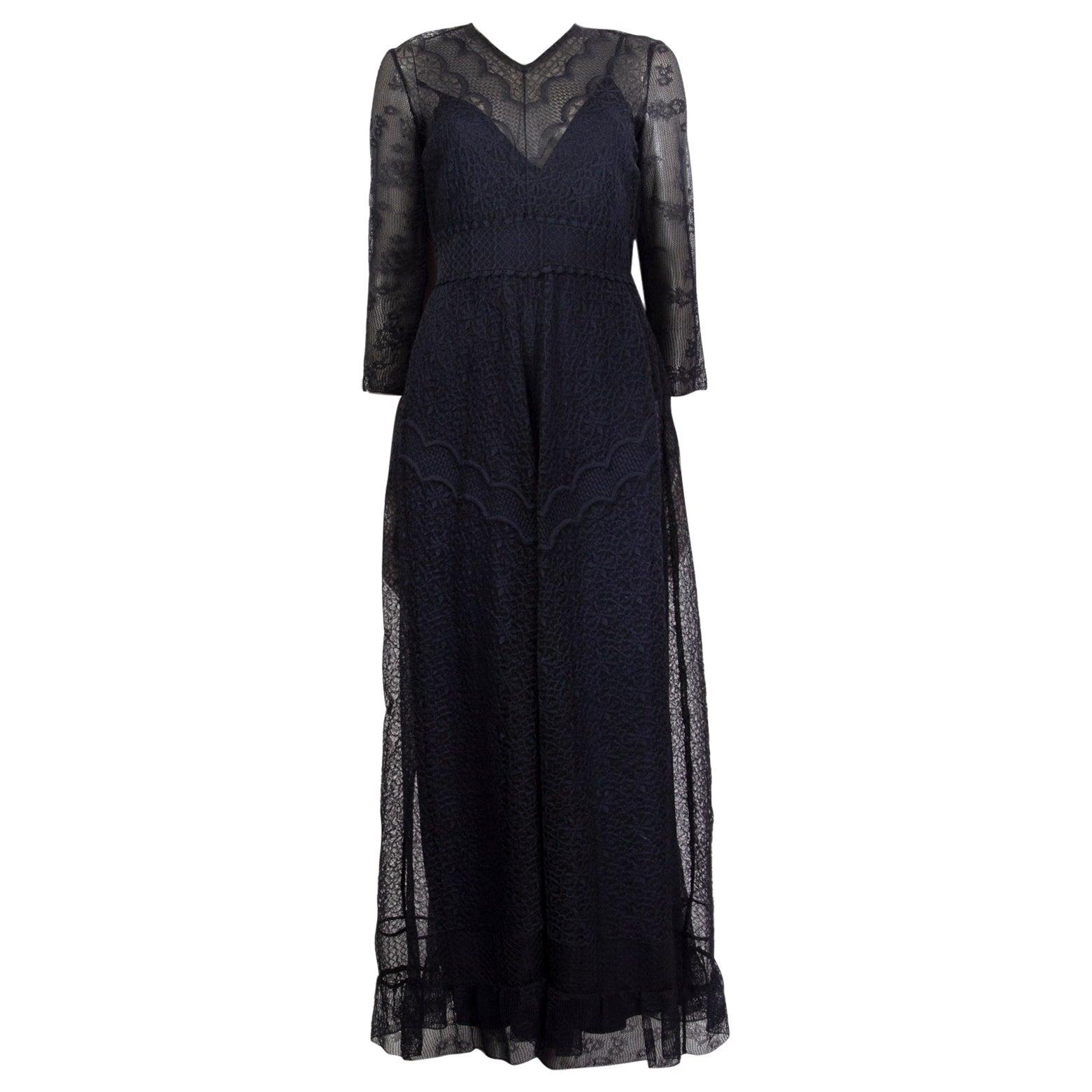 CHRISTIAN DIOR navy blue silk LACE KAFTAN Cocktail Dress 40