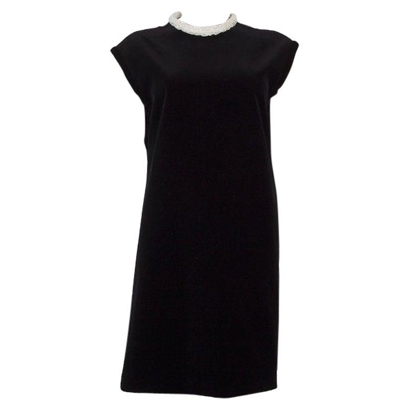 CHRISTIAN DIOR black VELVET RUFFLED LACE NECK Cocktail Dress 42