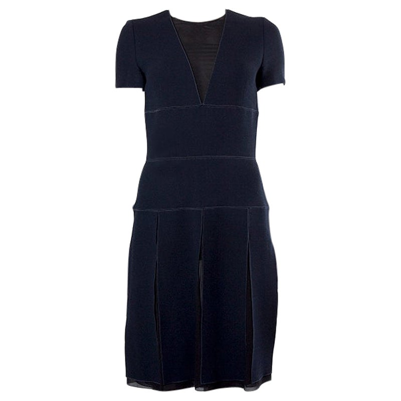 CHRISTIAN DIOR midnight blue wool & silk chiffon PANELED Cocktail Dress 38