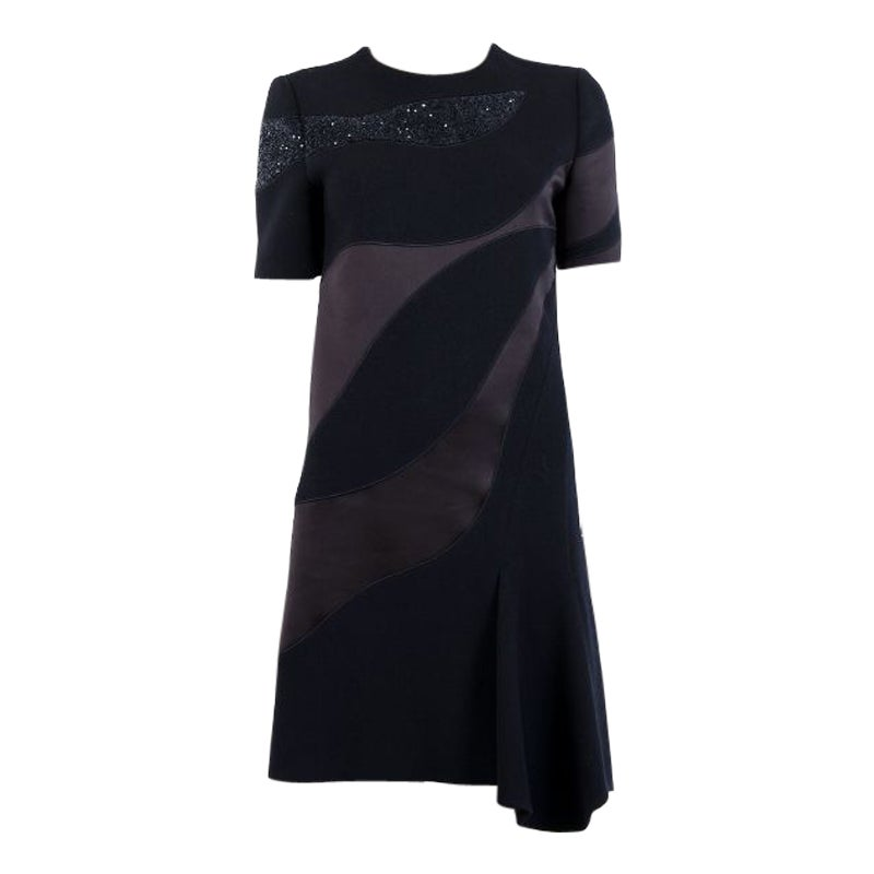 CHRISTIAN DIOR midnight blue wool & silk EMBELLISHED Cocktail Dress 38