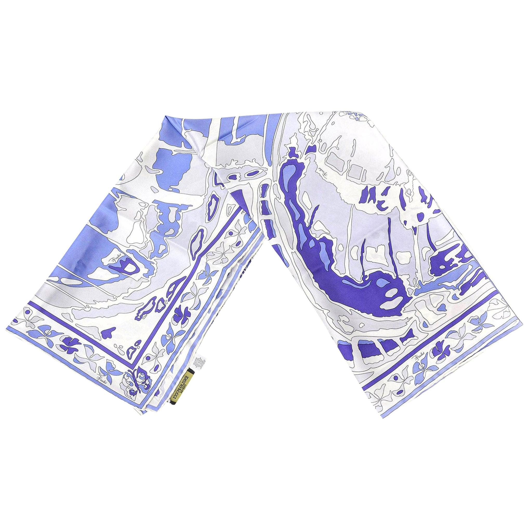 Emilio Pucci Purple, Blue and White Silk  Square Scarf Vintage Italian