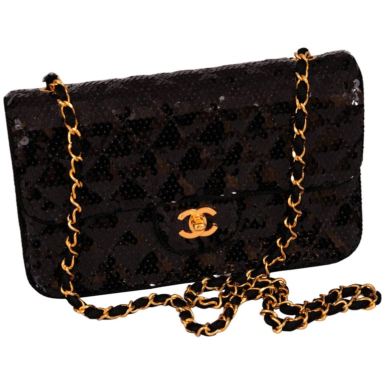 Chanel Sparkling Black Sequin Quilted Bag with Chain Strap, Never Used