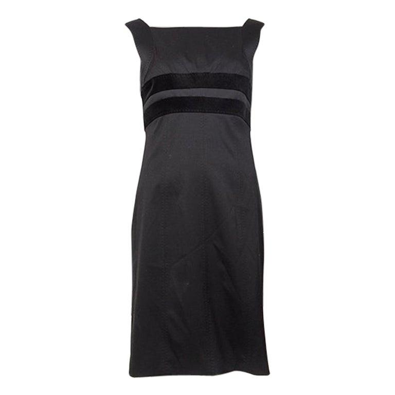 GUCCI black wool VELVET PANELED Sleeveless Cocktail Dress 42