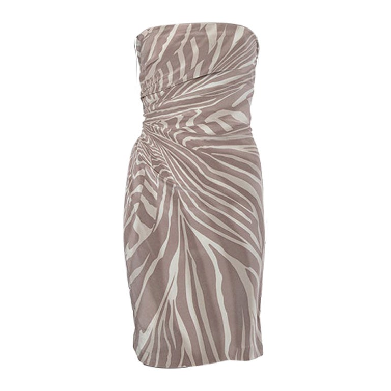 GUCCI taupe & cream silk ZEBRA Strapless Cocktail Dress 42