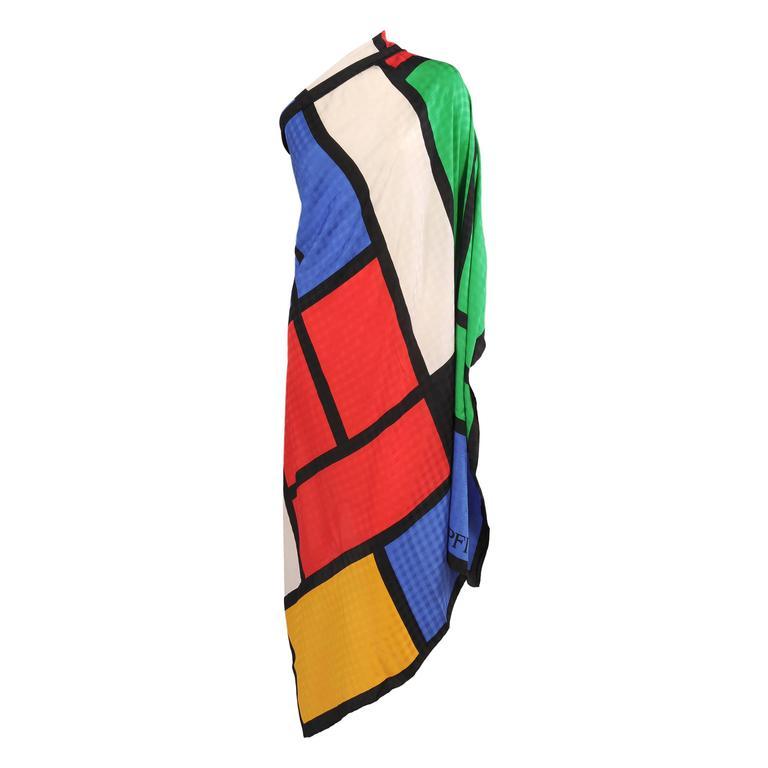 Mondrian Inspired Andrea Pfister Silk Shawl For Sale