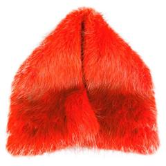 SPORTMAX Orange Beaver Fur Snap Collar