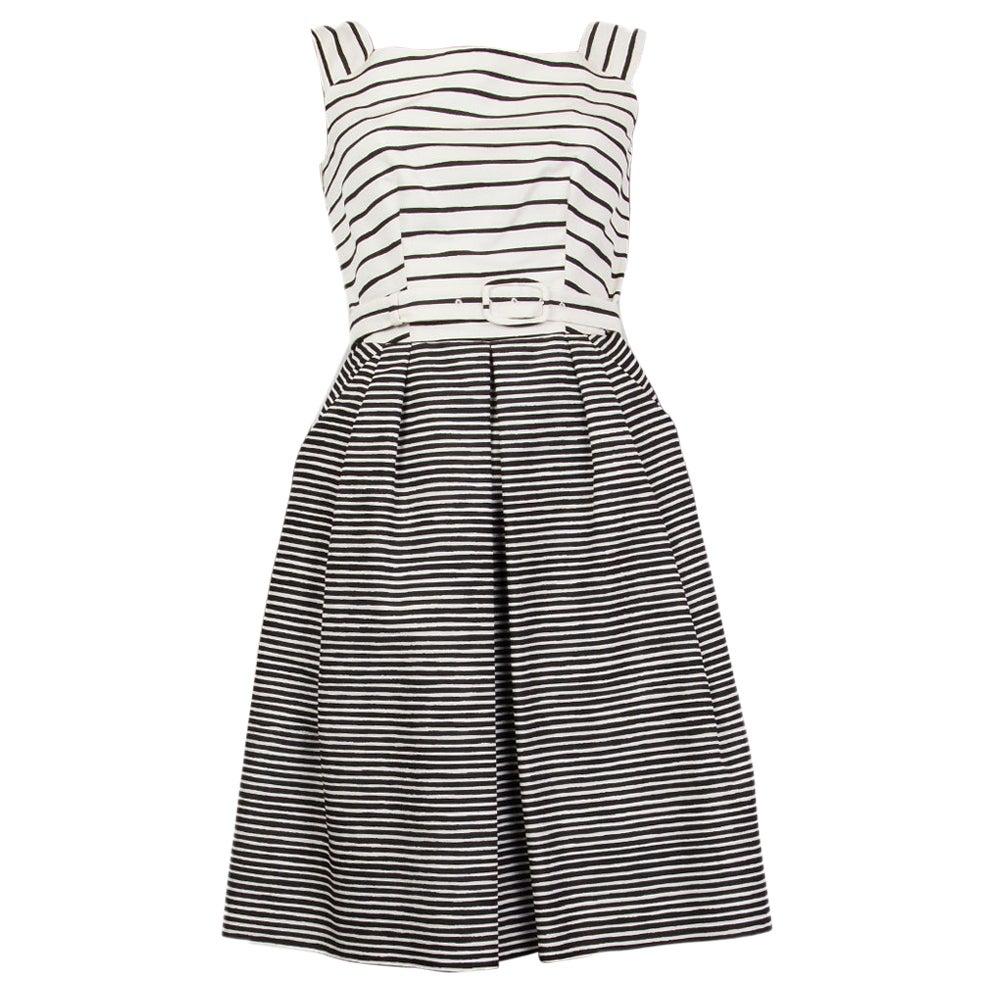 PRADA black & white silk STRIPED Sleeveless Dress 38