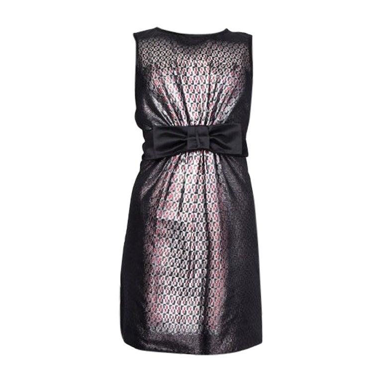PRADA black & silver silk BOW LUREX Sleeveless Sheath Cocktail Dress 38